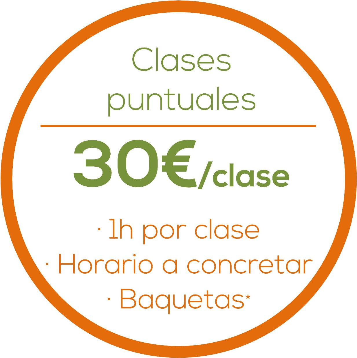 Clases puntuales, 30€/clase, 1h/clase, Horario a concretar, Baquetas gratis www.happyfrogdrums.com