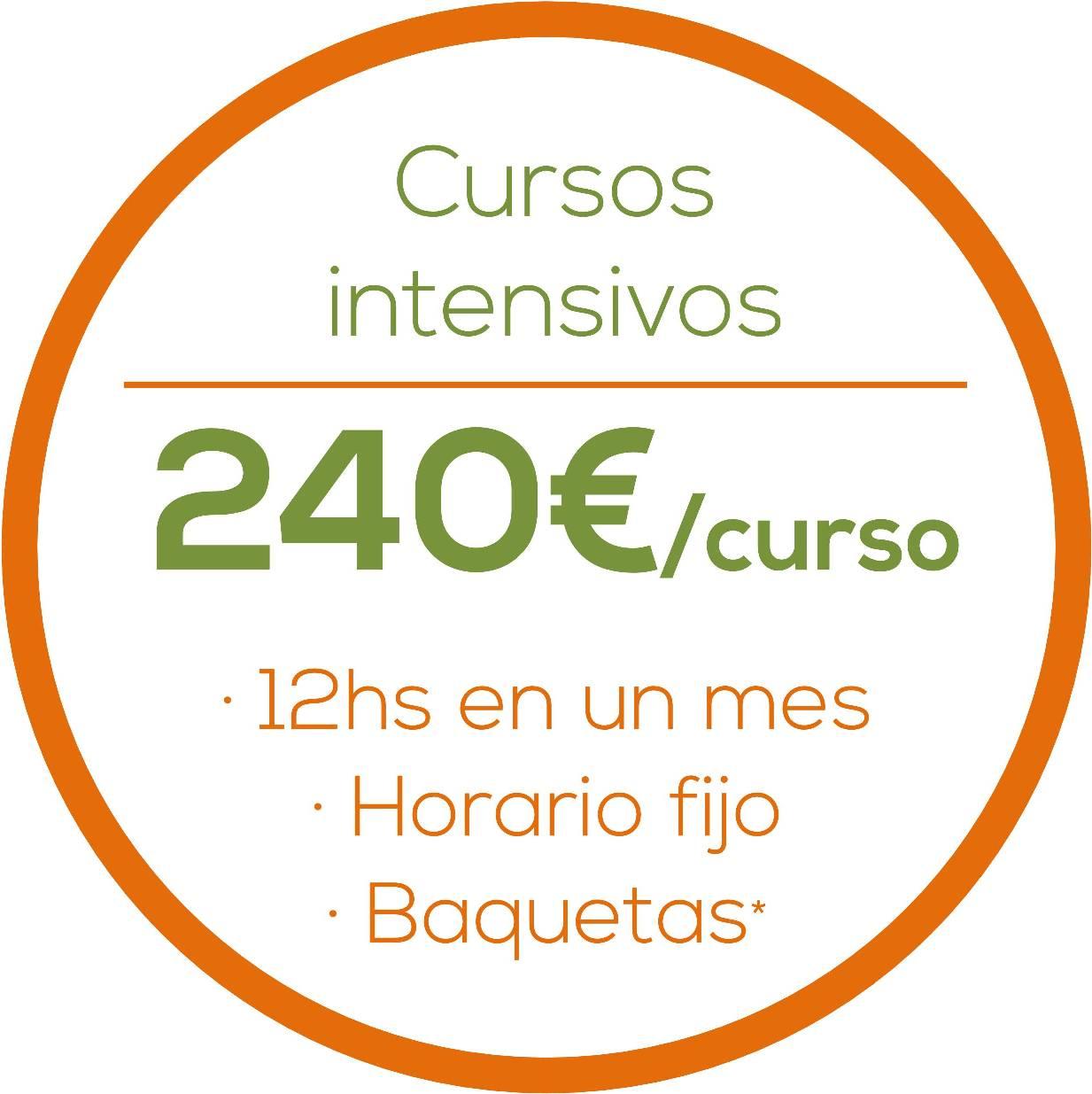 Cursos intensivos, 240€/curso, 12hs/mes, Horario fijo, Baquetas gratis www.happyfrogdrums.com
