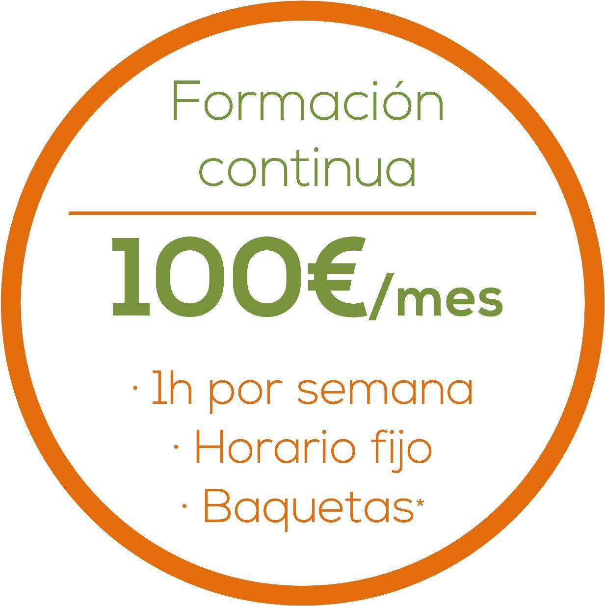 Formacion continua, 100€/mes, 1h/clase, Horario fijo, Baquetas gratis www.happyfrogdrums.com